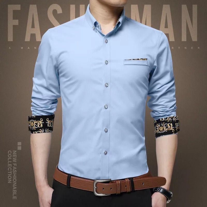 东莞男士修身印花长袖衬衫