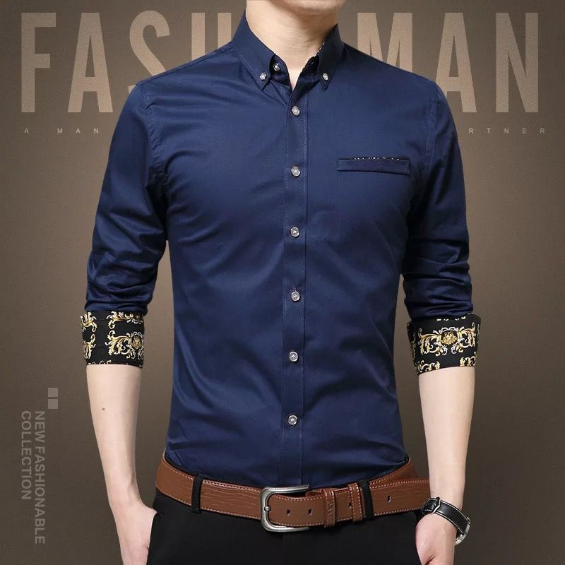 东莞浅蓝拼黑条衬衫