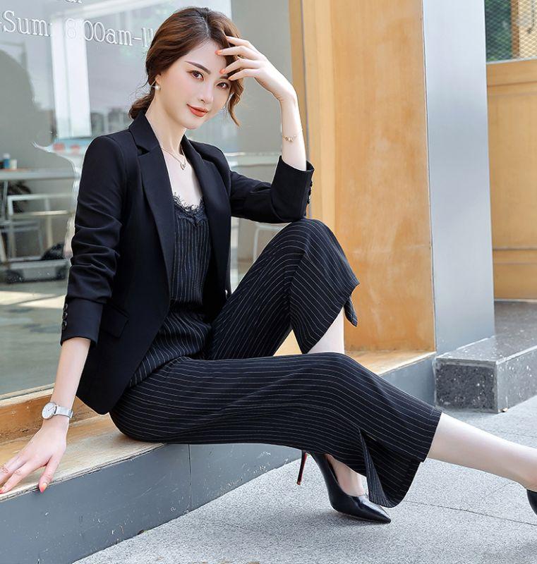 黑色长袖小西装女休闲商务百搭OL通勤气质工作服厂家直销工作服工衣厂服
