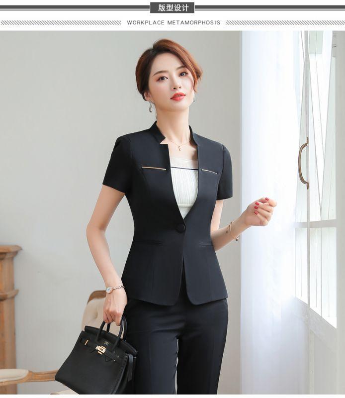 夏装女前台领班收银员短袖西装美容师餐厅经理职业套