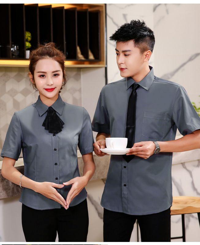商场营业员 东莞工作服半袖 男女衬衫 咖啡馆制服收银员服装业务员夏季装