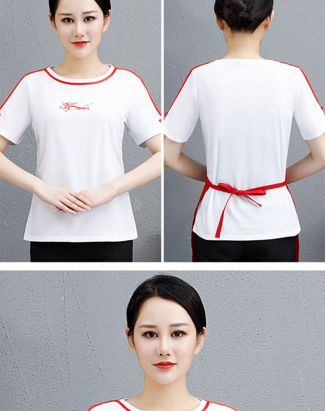 夏季新款服务员 短袖圆领T恤 印刺绣logo餐饮行业职业装时髦薄工衣
