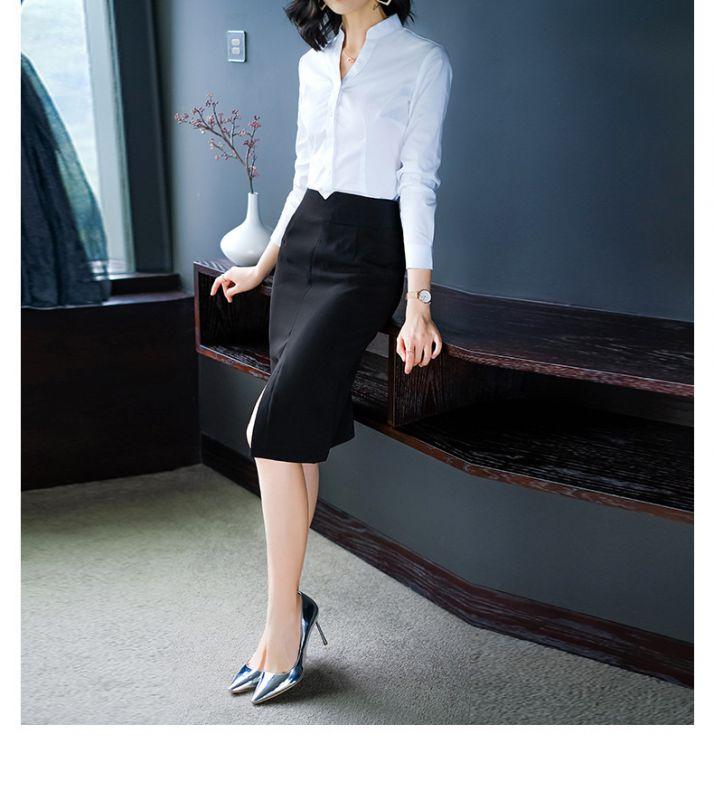 黑色修身半裙 前开叉高腰中裙 职业装西裙包臀一步裙