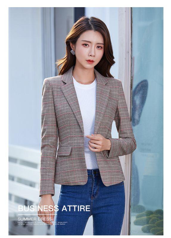 格子小西装外套女韩版秋季新款长袖休闲百搭短款OL职业小西服西装
