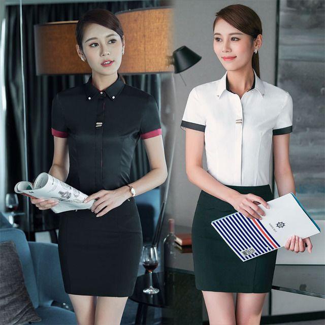 正品夏季 新款短袖职业装 通勤OL百搭办公工作服 黑色大码女装衬衫