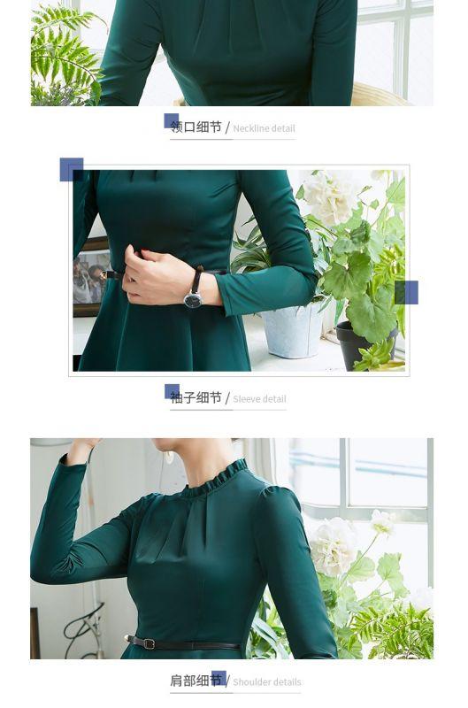缎面雪纺时尚系腰带修身显瘦款女百搭上衣2018春秋潮装职业装