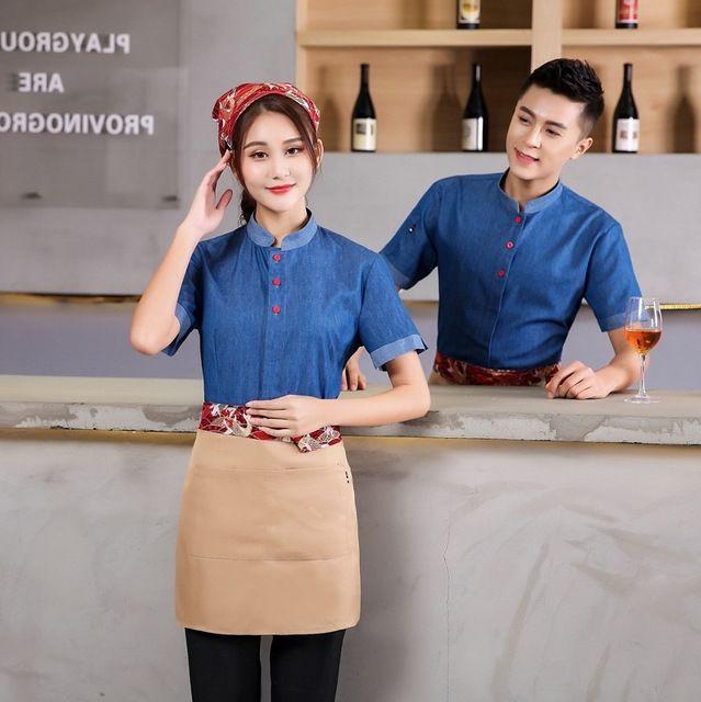 酒店东莞工作服 春夏装长短袖 西餐快餐店奶茶咖啡厅服务员牛仔蓝网咖