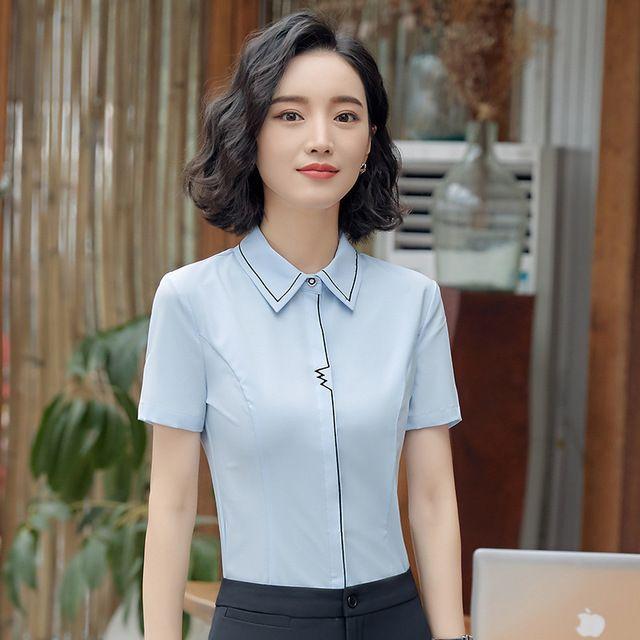 职业女白色 短袖衬衫 2018春装新款 西餐厅服务员酒店前台东莞工作服工衣