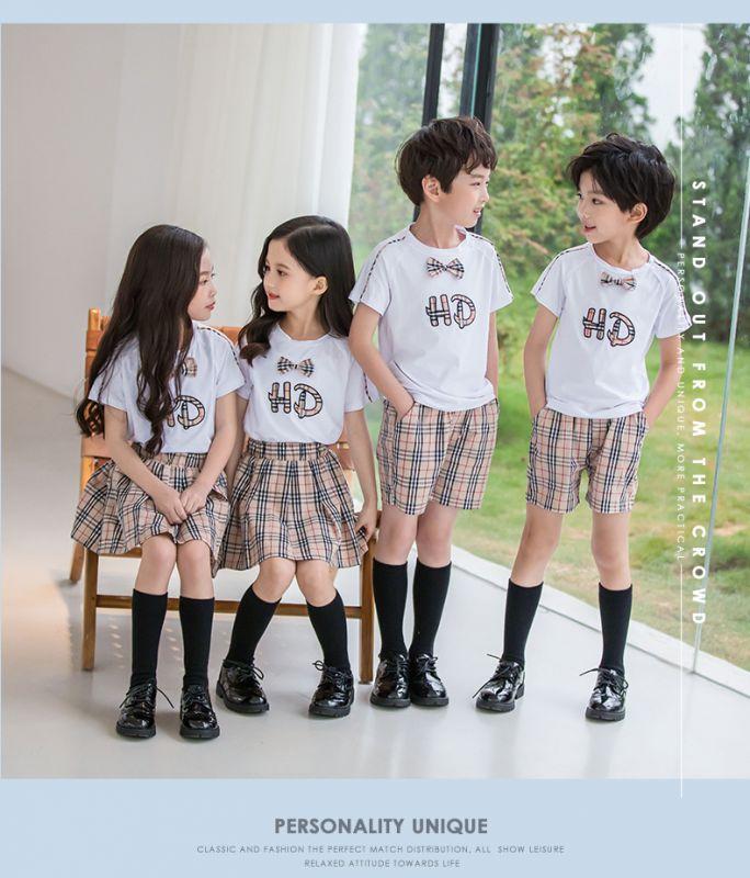 夏季幼儿园园服 夏装新款儿童班服纯棉短袖运动套装 小学生校服班服