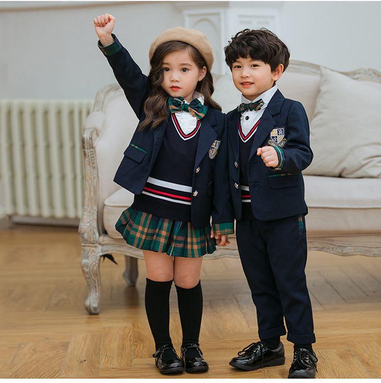 秋季幼儿园园服 春秋套装 小学生校服西装三件套 老师儿童班服英伦风