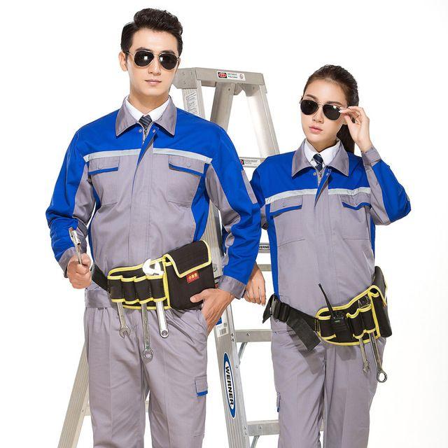 工作服男 修理工厂车间 员工服 地勤劳动套装耐磨多口袋反光条劳保服