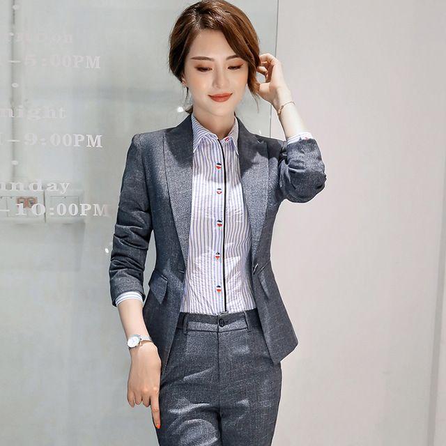 秋冬新款修身显瘦女士小西服长袖休闲气质百搭小西装职业套装直销