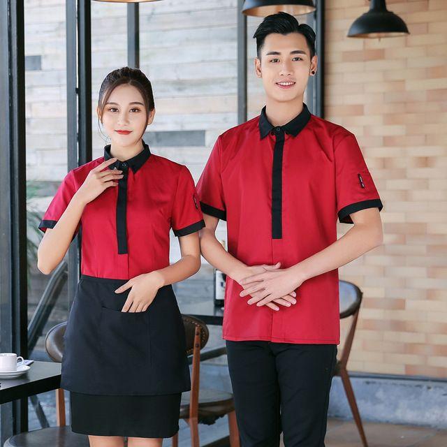 酒店工作服 男女咖啡厅 服务员短袖 火锅茶楼中西餐饭店工作服