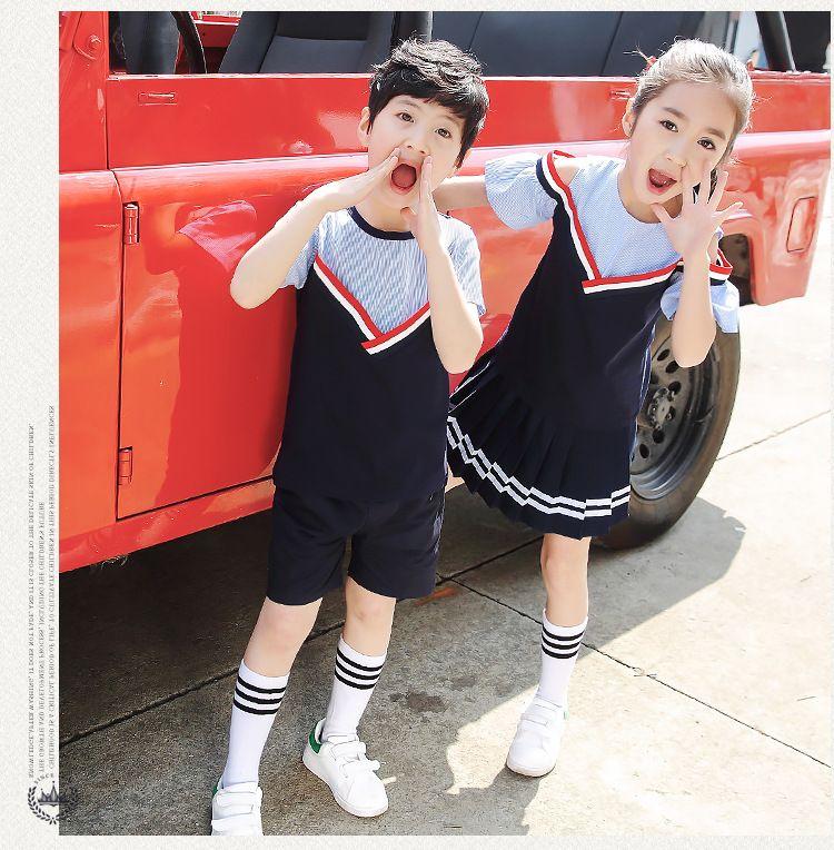 纯棉幼儿园园服 夏装学院风小学生校服 儿童班服老师短袖套装