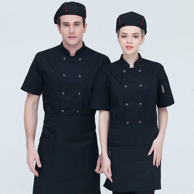 饭店厨师工作服短袖 餐饮饭店后厨房工作服 加肥加大码厨师服长袖夏