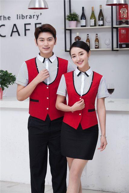 服务员马甲假两件套装餐厅快餐咖啡店酒店工装 短袖夏季工作服