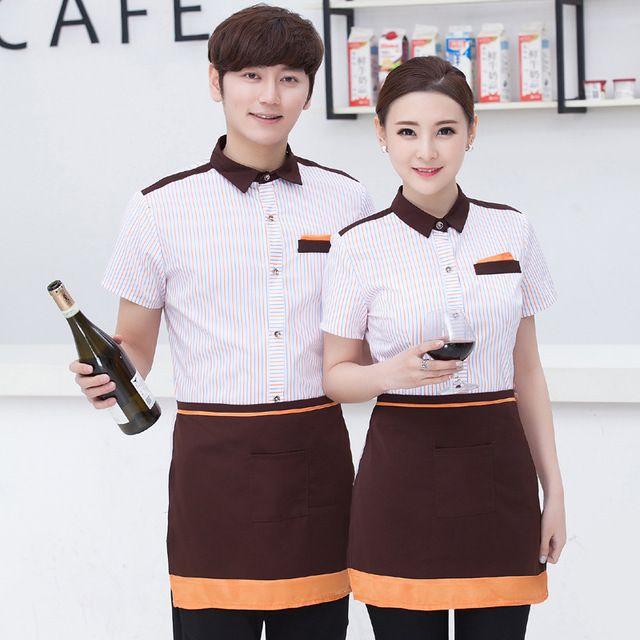 酒店工作服春夏装 餐饮火锅店西餐厅网咖啡厅服务员工作服