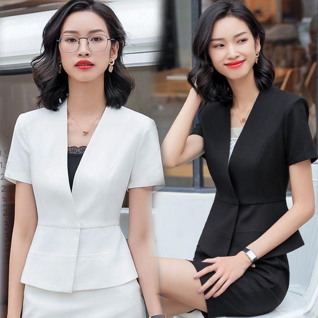 新款时尚修身小香风西装套装女春夏正装OL西服工作服白领职业装