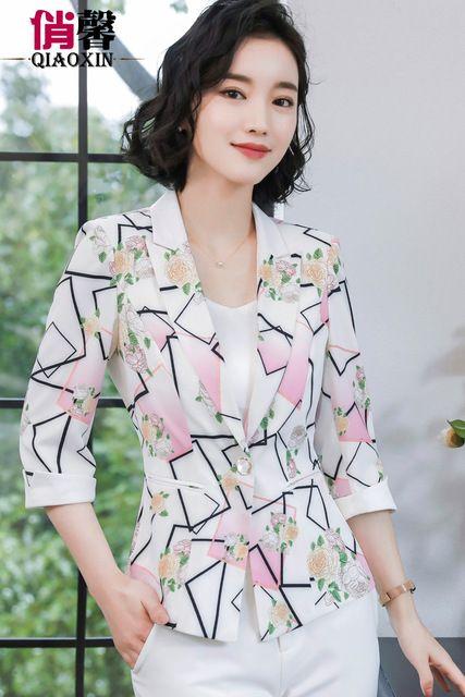 西装外套女五分中袖印花春款韩版小香风休闲百搭黑白方块小西服