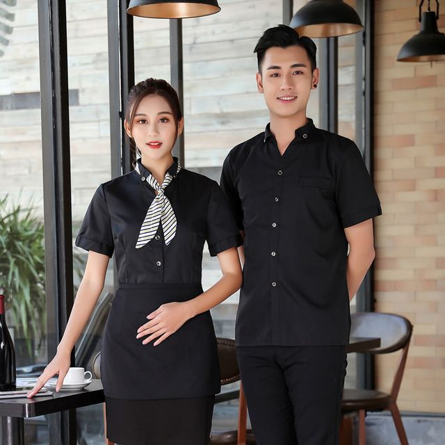 西餐厅火锅店服务员工作服 半袖网咖啡厅蛋糕店服务员工作服短袖